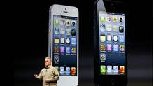 Phil Schiller, senior vice president of worldwide marketing atAppleInc, speaks about iPhone 5 duringAppleInc.'s iPhone media event in San Francisco, California September 12, 2012. (Beck Diefenbach/Reuters)