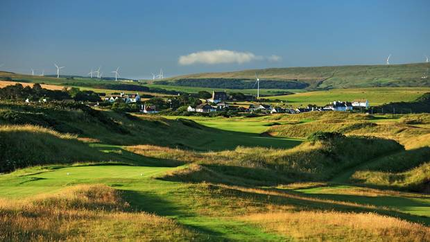 A view of the re-designed 509 yard 17th hole of the Ailsa Course at the Trump Turnberry Resort in Scotland in July.