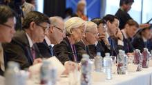 International Monetary Fund Chief Christine Lagarde (C) attends the Joint G20 and B20 Infrastructure Roundtable meeting as part of the G20 Finance Ministers and Central Bank Governors meeting in Sydney February 21, 2014. (Dan Himbrechts/REUTERS)