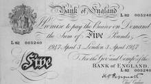 This £5 note was issued in 1947. Known as a 'White Fiver,' this note's design had remained essentially unchanged since being introduced in 1793. (Handout/Bank of England)