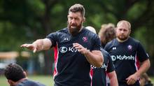 Jamie Cudmore, captain of Canada's national rugby team, is pictured during practice at UBC in Vancouver, British Columbia on June 9, 2016. (Ben Nelms For The Globe and Mail)