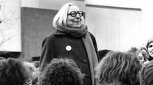 Author Jane Jacobs addresses a crowd that gathered at the site of the once-proposed Spadina expressway in Toronto to protest against any plan to build the road on March 8, 1981. (Thomas Szlukovenyi/The Globe and Mail)