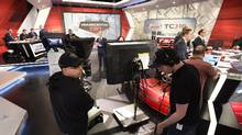 With the NHL trade deadline looming, editorial writers and behind-the-scenes crews work together to develop a broadcast with up-to-date information and interviews. (Fred Lum/The Globe and Mail)