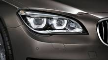European car makers, such as BMW, have developed adaptive LED headlights that aren't allowed in Canada yet. Pictured here: adaptive LED headlights on a BMW 7-Series car. (BMW)