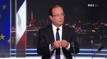 France's President François Hollande, seen in this video grab from French private TF1 television, speaks during a prime time news broadcast at their studios in Boulogne-Billancourt, near Paris Sept. 9, 2012. (REUTERS)