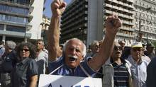 A Greek pensioner shouts slogans outside the Finance Ministry during a rally against the government's new austerity measures in Athens in this Sept. 28, 2011 file photograph. The dud countries in the European Union, were, and are, losing the race against the machines. Their workers are being replaced by technology and the survivors are not inventing enough of their own technology to keep the economy rolling forward. (PANAGIOTIS TZAMAROS/REUTERS)