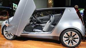 The Cadillac Urban Luxury Concept (ULC) at the L.A. Auto Show in Los Angeles on November 17, 2010. The ULC has gull wing doors, a footprint of only 151 inches long and 68.1 inches wide and seats four.