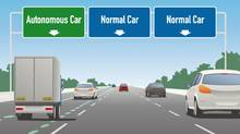 Rendering for autonomous vehicle lane from Vancouver to Seattle as proposed by Madrona Venture Group. (Madrona Venture Group)