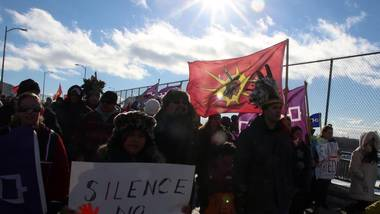 Idle No More protestors march and block the international bridge between the Canada and U.S. border near Cornwall Ont., on Jan. 5, 2013.