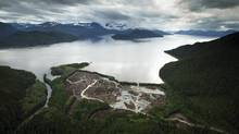 Workers clear the land at the Kitimat LNG site in this photo from Sept. 28, 2011. (JOHN LEHMANN/The Globe and Mail)