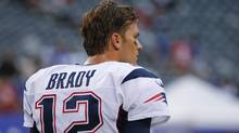New England Patriots quarterback Tom Brady watches his team warm up before a preseason NFL football game against the New York Giants on Thursday, Sept. 1, 2016, in East Rutherford, N.J. (Kathy Willens/AP)