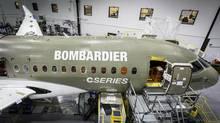 A Bombardier C Series jet under construction in Mirabel, Quebec in June, 2013. (HANDOUT/Reuters)