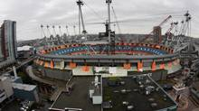 B.C. Place stadium is seen on Oct. 8, 2010, with work being done on the roof. (DARRYL DYCK for The Globe and Mail)