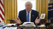 U.S. President Donald Trump is interviewed by Reuters in the Oval Office at the White House in Washington, on Feb. 23, 2017. (Jonathan Ernst/Reuters)