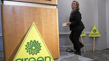 Green Party leader Elizabeth May takes the podium to comment on her exclusion from the televised leaders debate during the Canadian federal election, in Vancouver, British Columbia March 30, 2011. (ANDY CLARK/REUTERS/ANDY CLARK/REUTERS)