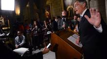 Senator James Cowan, the Liberal Senate leader, talks to media in Ottawa, Thursday, May 9, 2013 after copies of a report of an audit on Senators housing expenses were handed out. (Sean Kilpatrick/THE CANADIAN PRESS)