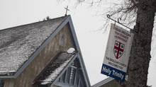 An Anglican church includes a welcome sign in English in Sainte-Agathe-des-Monts, Quebec, January 15, 2013. (Christinne Muschi for The Globe and Mail)