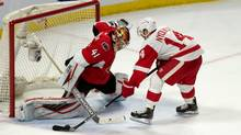 Ottawa Senators goalie Craig Anderson (41) makes a save on a shot from Detroit Red Wings right wing Gustav Nyquist (14) in a shootout at the Canadian Tire Centre in Ottawa on Feb. 20, 2016. The Senators defeated the Red Wings 3-2. (Marc DesRosiers/USA Today Sports)