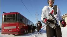 Canada's Patrice Bergeron arrives at practice with teammates at the Gambucci Arena in Grand Forks, North Dakota, Monday, Jan.3, 2005. (file photo) (Joe Bryksa/The Canadian Press)