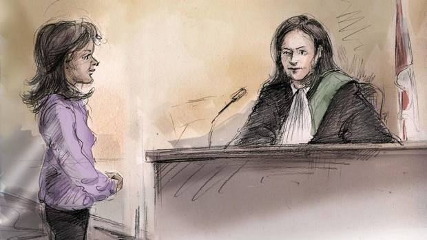 Rohinie Bisesar appears in court in front of Justice W. Agnew in Toronto on Dec.16 in this artist's sketch. (Alexandra Newbould/THE CANADIAN PRESS)