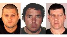Images provided by Interpol show Yves Denis, 35, Serge Pomerleau, 49, and Denis Lefebvre, 53. (INTERPOL/ASSOCIATED PRESS)