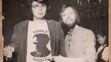 An archival shot of young Larry LeBlanc, left, with musician Tom Northcott in the early 1970s.