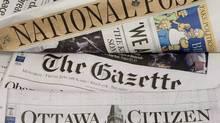 Some of Postmedia's newspapers. (Adrian Wyld/Adrian Wyld/THE CANADIAN PRESS)