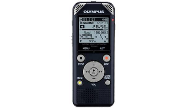 Olympus WS-803: This digital voice recorder offers up to 2,043 hours of recording time on its 8 GB of memory. Stuff a microSD card, up to 32 GB, into the slot and the possibilities are almost endless. It includes an FM radio tuner for your listening and recording pleasure. Estimated retail price is $179.99. (Olympus)