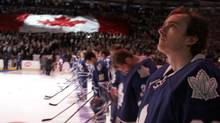 The Toronto Leafs during the opening ceremony at ACC where the Toronto team host the Buffalo Sabres, Toronto January 21, 2013. (Fernando Morales/The Globe and Mail)