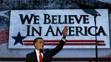 Republican presidential nominee Mitt Romney waves as he arrives onstage to accept the nomination during the final session of the Republican National Convention in Tampa, Florida, August 30, 2012. (Adrees Latif/Reuters)