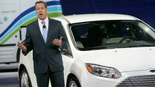 Ford executive chairman William Clay Ford unveils a new electrified 2011 Ford Focus Monday in Detroit. (Scott Olson/2011 Getty Images)