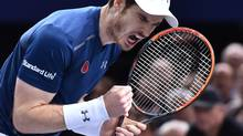 Andy Murray reacts during his final tennis match against John Isner at the ATP World Tour Masters 1000 on Nov. 6, 2016. (Christophe Archambault/AFP/Getty Images)