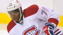 Montreal Canadiens defenseman P.K. Subban warms up ahead of Saturday's game.Steve Mitchell-US PRESSWIRE (Steve Mitchell/US PRESSWIRE)