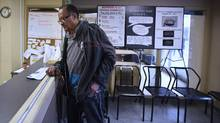 Frank Coburn, 70, an opiate user for the last 15-20 years, during a visit to The Works (Toronto Public Health) on March 14 2016. (Fred Lum/The Globe and Mail)