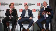 Bruce Linton and Mohamad Fakih participate in a panel discussion while the Globe and Mail's Andrew Willis moderates at the Globe and Mail Small Business Summit in Toronto on May 9, 2017. JENNIFER ROBERTS/THE GLOBE AND MAIL