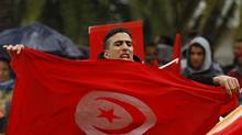 A demonstrator holds a Tunisian flag as he joins others in protest outside the parliament in Tunis, Jan. 17, 2013. (ANIS MILI/REUTERS)
