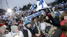 Almost 2.5 million Finnish fans aged 10 and older saw at least part of the host country's 4-3 overtime win over Russia in the world juniors final. On a per-capita basis, this tops the highest rating ever achieved in Canada for a hockey game. (LEHTIKUVA/REUTERS)