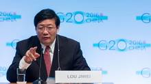 This file photo taken on Oct. 7, 2016, shows China's Finance Minister Lou Jiwei speaking during a G20 press conference in Washington, D.C. On Nov. 7, China replaced Lou, state media reported. (ZACH GIBSON/AFP/Getty Images)