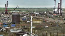 Sturgeon Refinery, shown under construction, is designed to process 80,000 barrels of diluted bitumen a day. (THE CANADIAN PRESS)