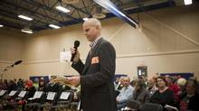 Developer Sean Hodgins speaks at a municipality of Delta public hearing over the proposed Southlands development in Delta, B.C. on Oct. 28, 2013. (Ben Nelms for The Globe and Mail)