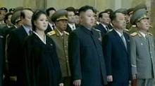 Ri Sol-ju (L), the wife of North Korean leader Kim Jong-un (2nd L), is seen during the inaugural ceremony of the Kumsusan Palace Of The Sun in Pyongyang wearing a black Korean traditional dress and appearing to be heavily pregnant, as they attend the ceremony on the first anniversary of Kim Jong-il's death, in this still image taken from video December 17, 2012. There has been speculation for a while that Ri Sol-ju was pregnant with what would be the 4th in the line that has ruled North Korea since its foundation in 1948. (KRT via Reuters TV/Reuters)