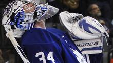 Toronto Maple Leafs goalie James Reimer celebrates his shutout against the Montreal Canadiens in their NHL hockey game in Toronto, October 6, 2011. The Leafs and Habs are both off to military boot camp Globe and Mail hockey reporter David Shoalts writes. REUTERS/Mark Blinch (Mark Blinch/Reuters)