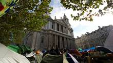 A general view of St Paul's Cathedral in London, as it re-opens on October 28, following its closure to the public for the first time since the Blitz in 1940. More than 200 activists inspired by the U.S. Occupy Wall Street movement have taken over the churchyard in front of the cathedral in London's financial district since Oct. 15, 2011, forcing its closure due to public health and safety reasons. (LEON NEAL/LEON NEAL/AFP/GETTY IMAGES)