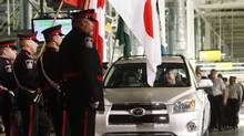 A RAV 4 vehicle sits at the end of the assembly line on opening day at the Toyota Motor Manufacturing Canada Inc. plant in Woodstock, Ont., Dec. 4, 2008. (DAVE CHIDLEY)