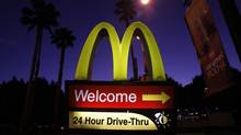 A McDonald's restaurant's drive-thru sign is pictured in Los Angeles April 4, 2011. (MARIO ANZUONI/REUTERS)