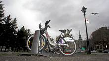 A Bixi bike stand in Old Montreal on May 17. (Christinne Muschi for The Globe and Mail/Christinne Muschi for The Globe and Mail)