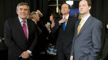 Gordon Brown of the Labour Party, David Cameron of the Conservative Party and Nick Clegg of the Liberal Democrat Party await the beginning of Britain's first televised general election debate April 15, 2010, in Manchester, England. (Getty Images)