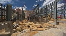A view of the construction at Barrick Gold's gold processing plant at the Pacua-Lama mine in Argentina, in this January 2, 2012 handout photo. (Handout/Reuters/Barrick)