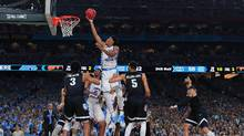 Isaiah Hicks #4 of the North Carolina Tar Heels attempts a shot against the Gonzaga Bulldogs during the 2017 NCAA Men's Final Four National Championship game at University of Phoenix Stadium on April 3, 2017 in Glendale, Arizona. (Ronald Martinez/Getty Images)