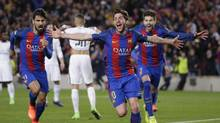 Barcelona's Sergi Roberto celebrates after scoring the sixth goal during the Champions League round of 16, second leg soccer match against PSG, March 8, 2017. (Emilio Morenatti/AP)